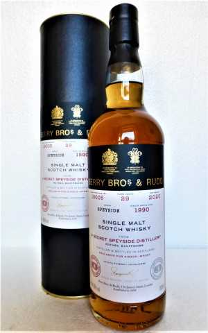 A SECRET SPEYSIDE DISTILLERY 1990 SHERRY CASK + RED BORDEAUX WINE CASK FINISH 49,6% VOL BERRY BROS & RUDD