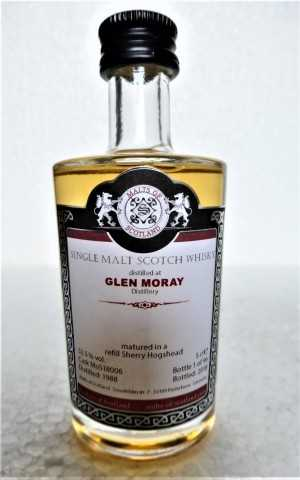 GLEN MORAY 1988 REFILL SHERRY HOGSHEAD 52,5% VOL MALTS OF SCOTLAND MINIATUR