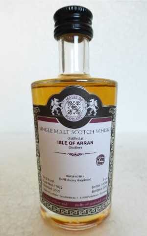 ISLE OF ARRAN (PEATED) 2005 REFILL SHERRY HOGSHEAD 54,5% VOL MALTS OF SCOTLAND MINIATUR
