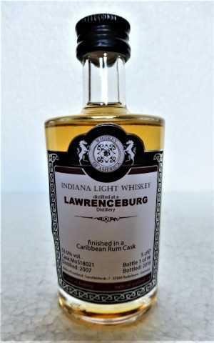 LAWRENCEBURG 2007 INDIANA LIGHT WHISKEY CARIBBEAN RUM BARREL 53% VOL MALTS OF SCOTLAND MINIATUR