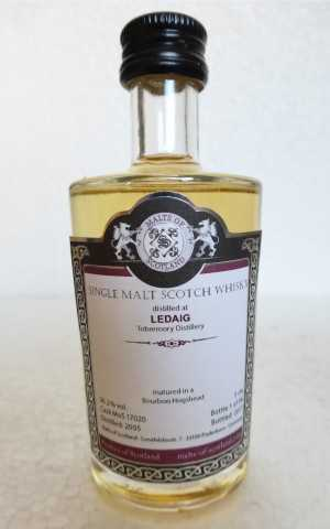 LEDAIG (TOBERMORY) 2005 BOURBON HOGSHEAD 56,2% VOL MALTS OF SCOTLAND MINIATUR