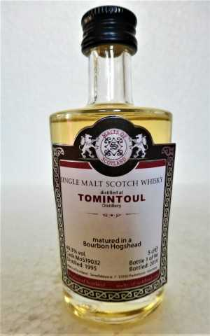 TOMINTOUL 1995 BOURBON HOGSHEAD 49,3% VOL MALTS OF SCOTLAND MINIATUR