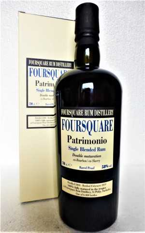 FOURSQUARE PATRIMONIO BARBADOS SINGLE BLENDED RUM DOUBLE MATURATION 58% VOL ORIGINALABFÜLLUNG